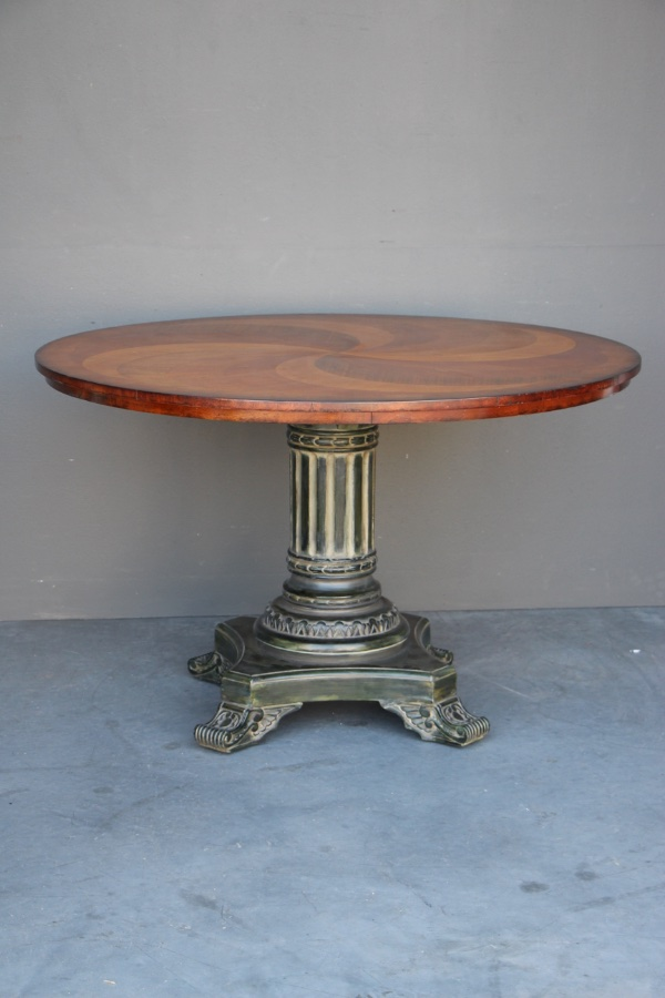 Buy Marquetry Round Dining Table Carved Base From Antiques