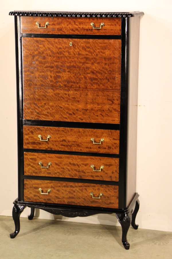 French marquetry desk bureau secretaire for Bureau secretaire