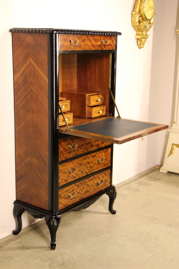 buy french marquetry desk bureau secretaire from antiques and design online. Black Bedroom Furniture Sets. Home Design Ideas