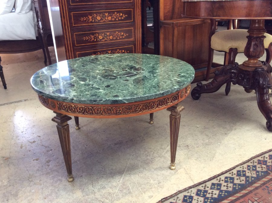 Buy French Green Marble Coffee Table Plus Other Antique