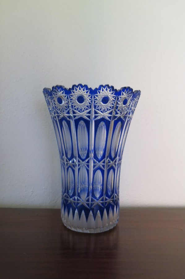 Buy Art Deco Blue Cut Glass Vase From Brunswick Street
