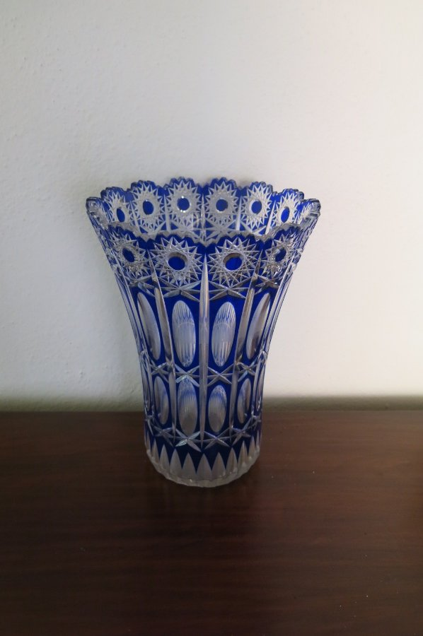 Buy Art Deco Blue Cut Glass Vase From Brunswick Street Antiques Melbourne