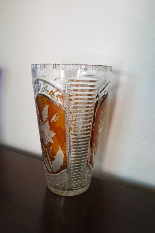 Buy Retro Orange Cut Glass Vase From Brunswick Street