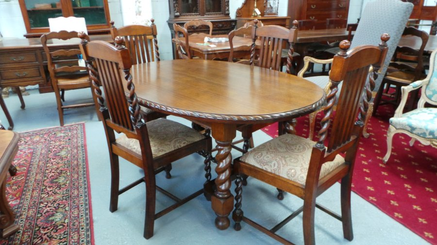 Jacobean Oak Dining Table And Chairs