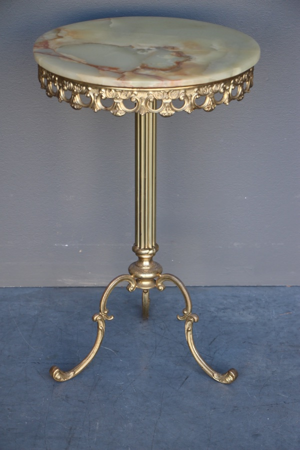 Buy Vintage Onyx Marble Brass Wine Table From Antiques And