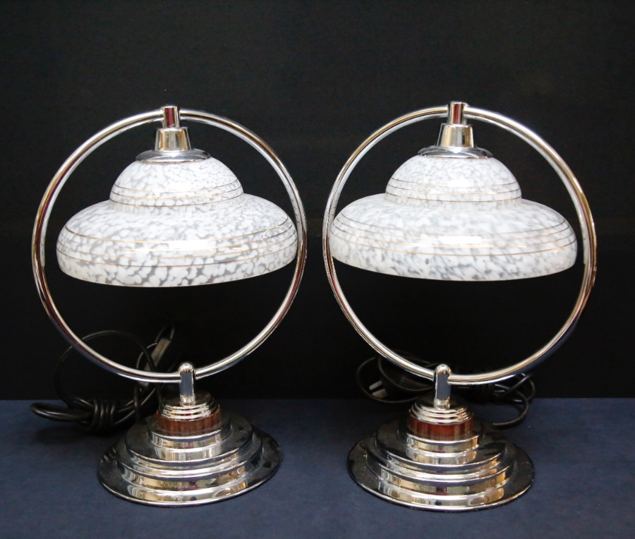 Buy Pair Of 1930 Chrome Ring Lamps From Seanic Antiques